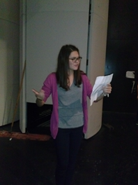 Junior Lauren Bassett, playing the role of Anna Andreyevna, rehearses her lines.