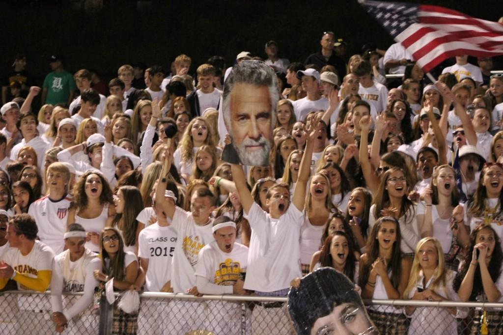 The+AHS+student+section+celebrates+a+touchdown+against+Stoney+Creek.+