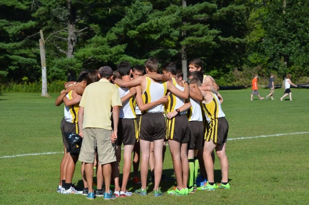 The+boys%27+cross+country+team+gathers+prior+to+a+meet.