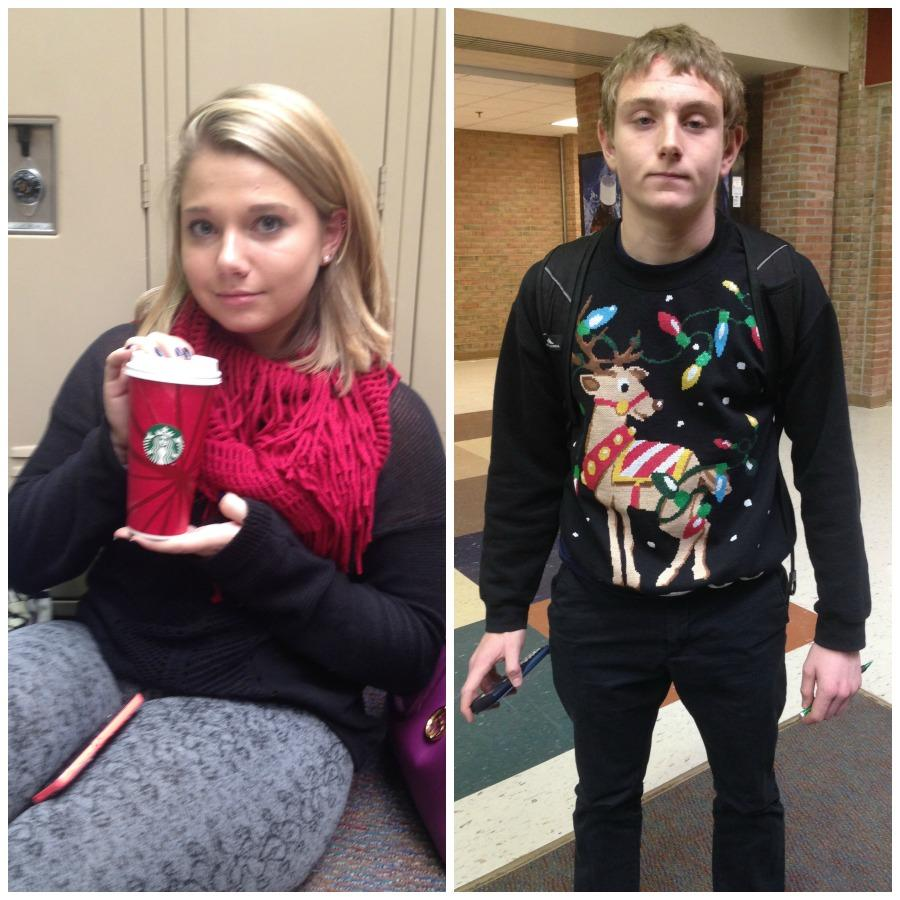 Seniors+Adam+Beck+and+Jessica+Skiff+sport+their+Christmas+themed+attire+in+early+November.