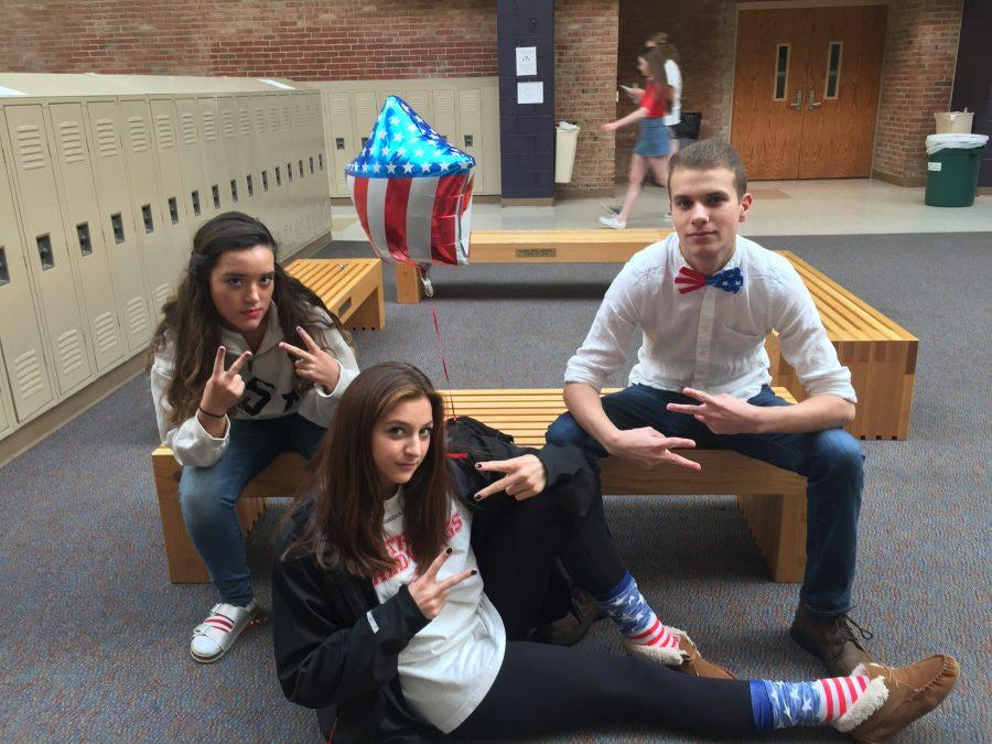Adams+seniors+Jordan+Miller%2C+Jessie+Stoitsiadis+sporting+their+patriotic+gear+for+USA+day.
