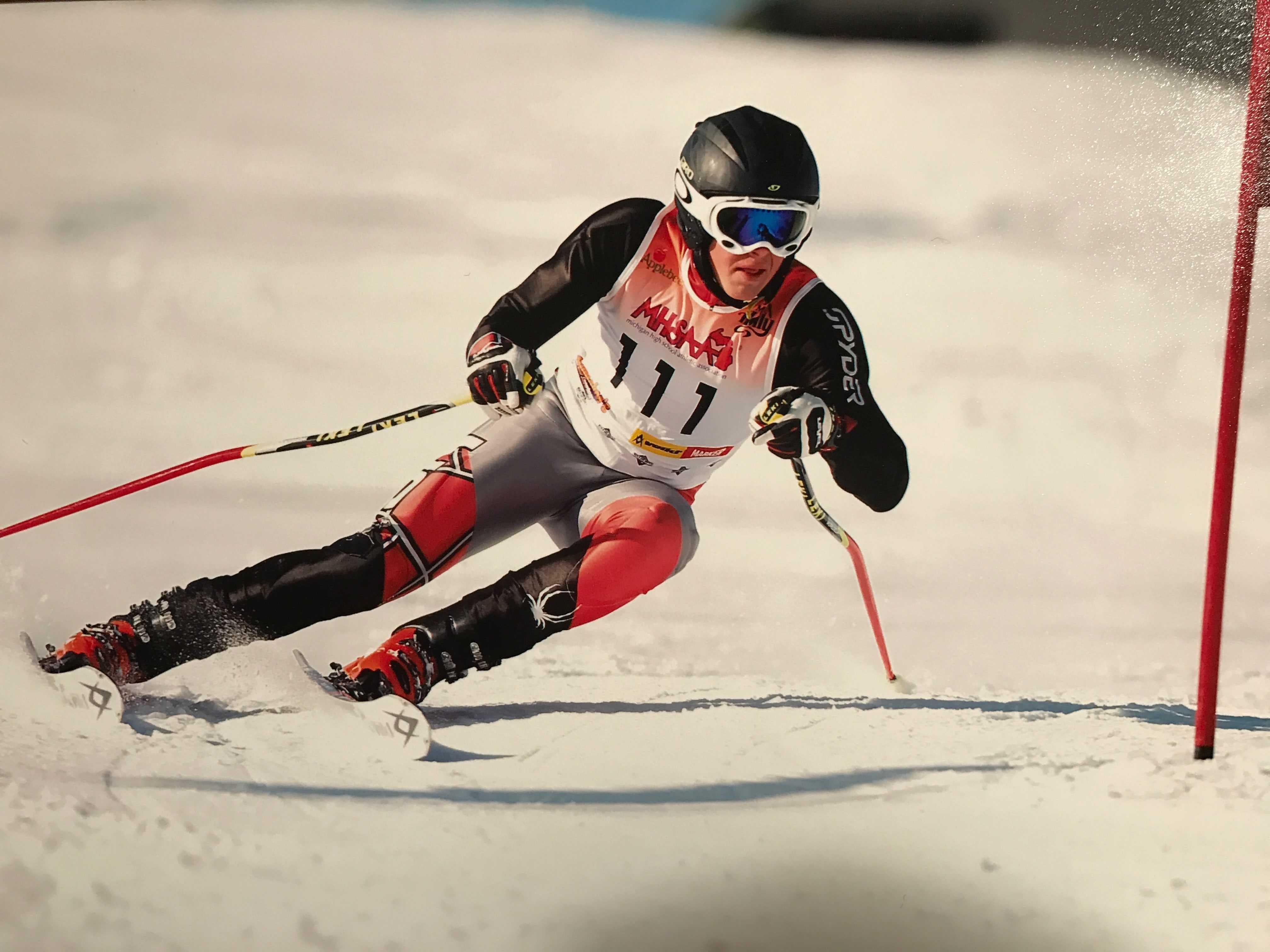 Senior Jonathon Stanton skis at an event.