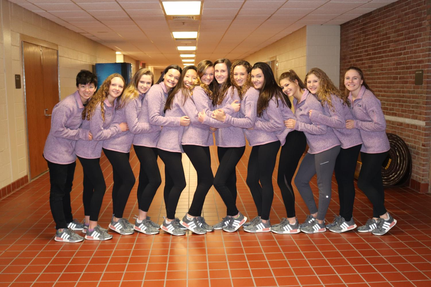 The Adams Varsity Swim and Dive Team  at the State finals: Alisa Kong, Allie Danko, Sarah Cole, Meghan Fleury, Wendy Dong, Maddy Fleury, Alex Waack, Grace McGinnis, Reese McCorry, Mackenzie Humphery, Valentina Rengifo, and Lisa Lohner.