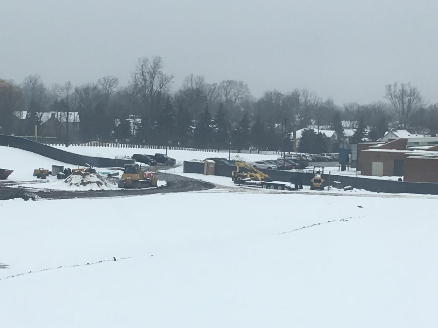 Construction continues around the Adams grounds including the location of the old baseball field.