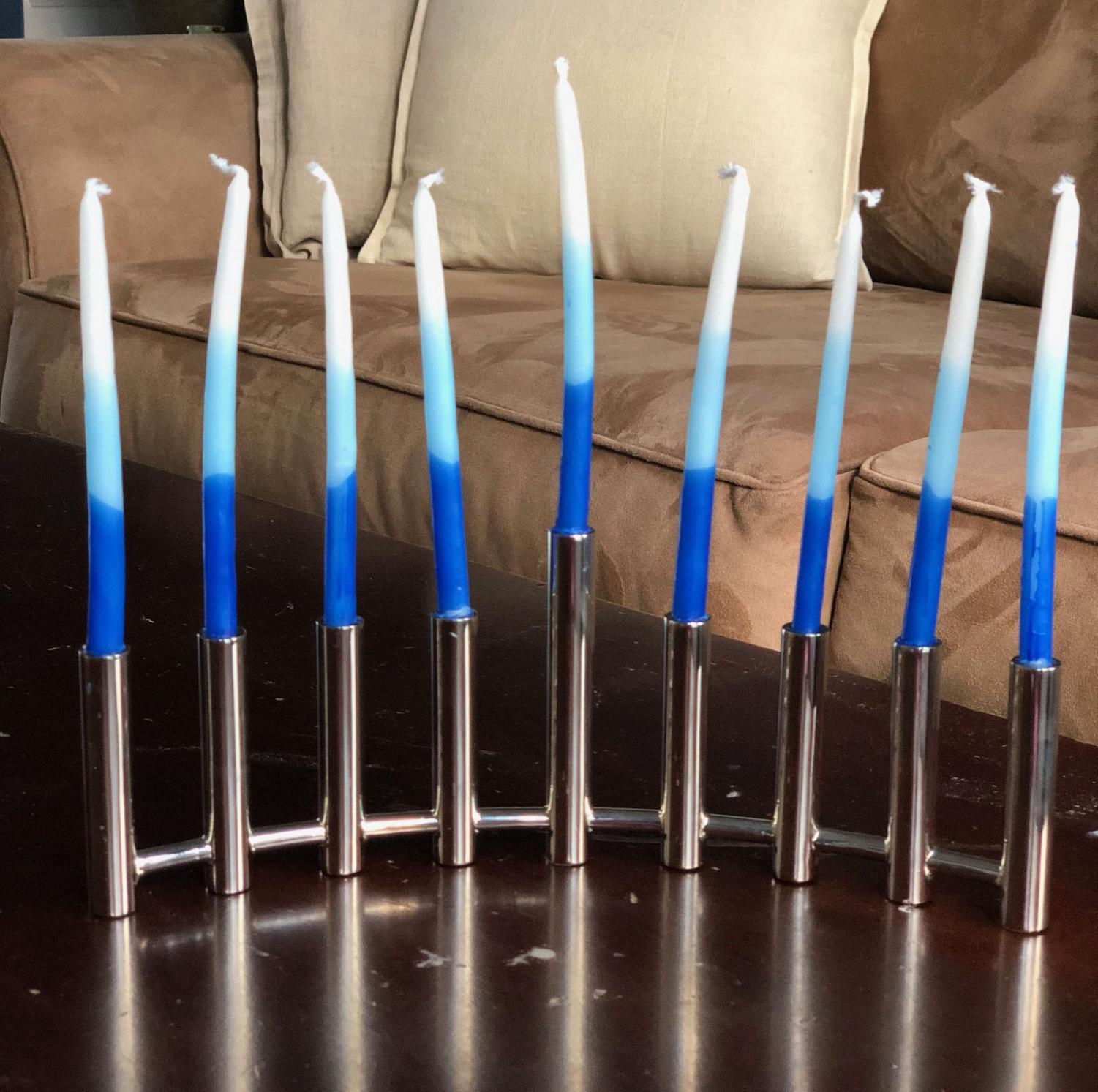A menorah on display in the Goodman household.