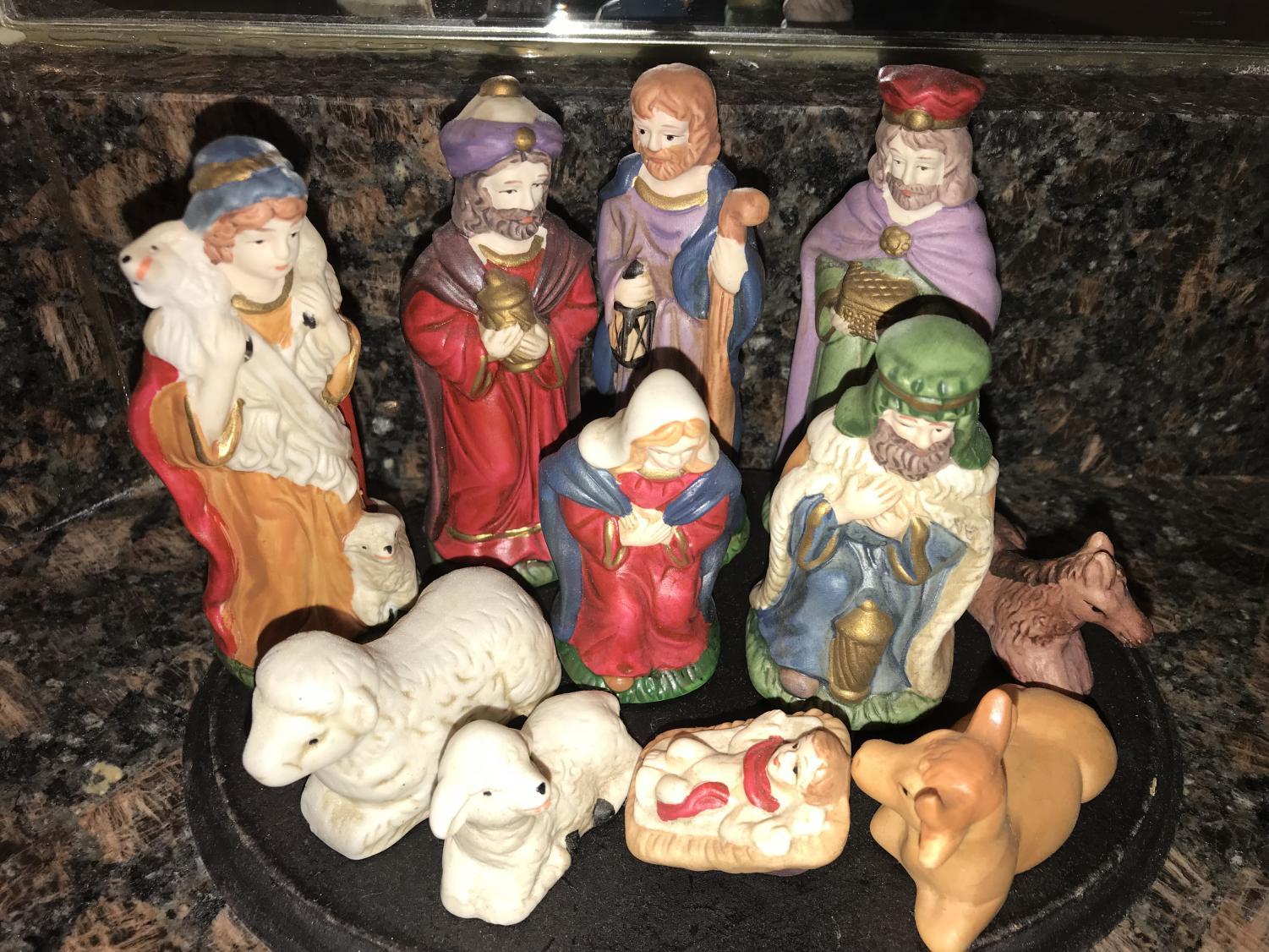 Nativity scene. Many religious symbols are not allowed in schools.
