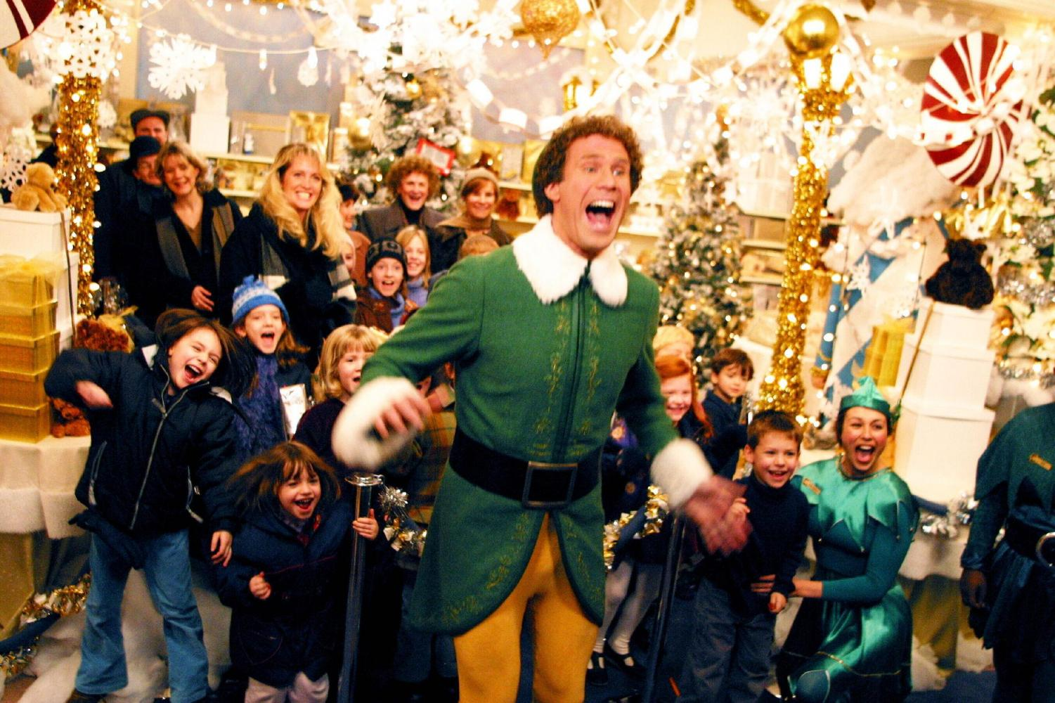 Will Ferrell playing Buddy the elf in Elf.