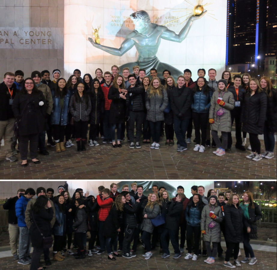 Rochester Adams DECA in front of The Spirit of Detroit at SCDC 2017.