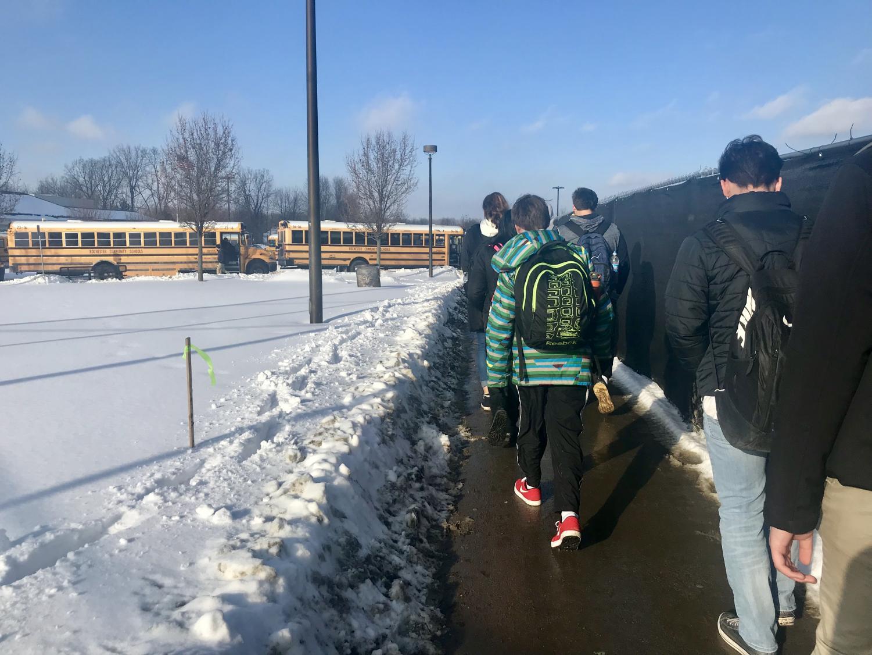 Students walking down to Van Hoosen after school.