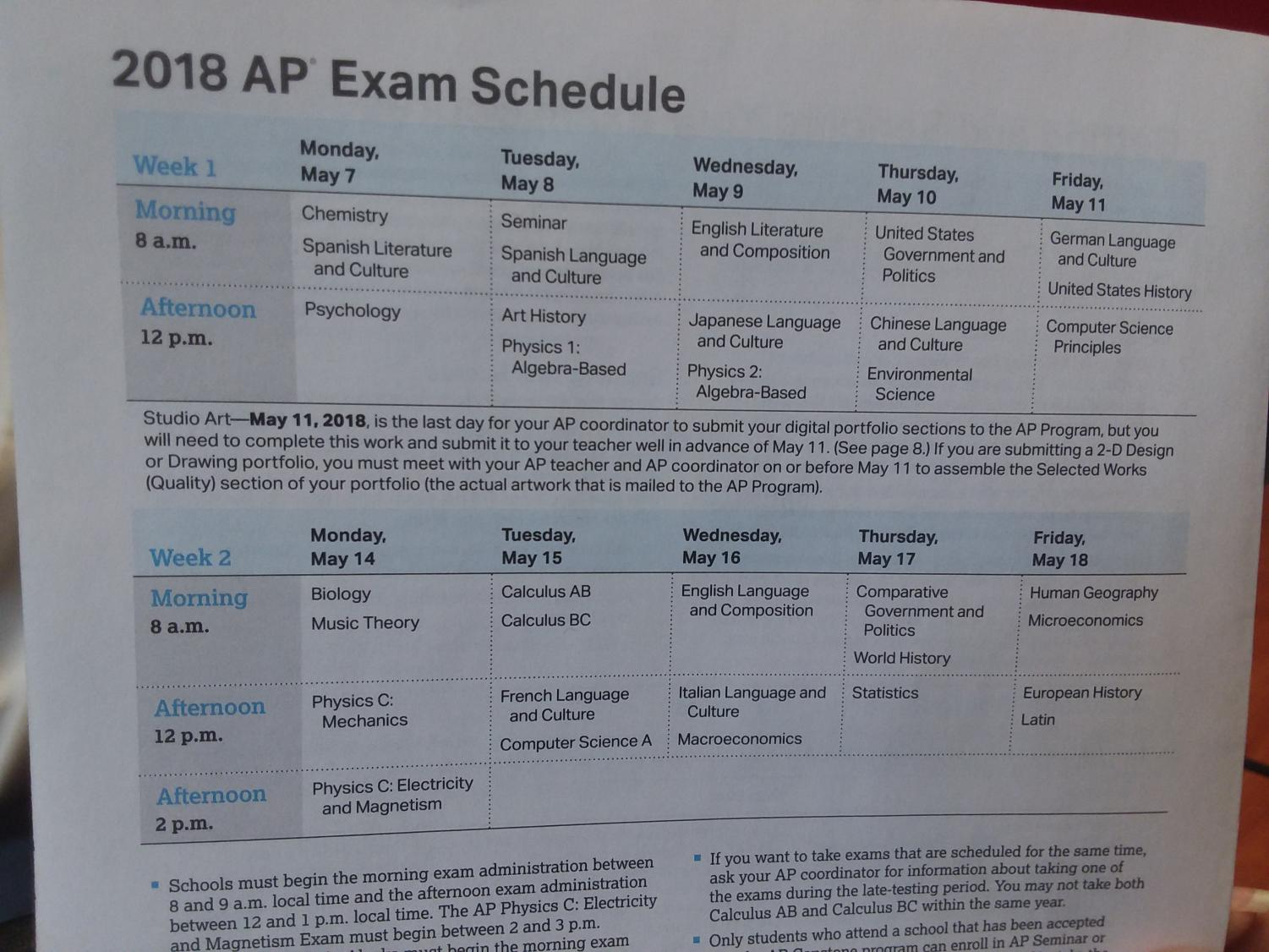 The 2018 AP Exam Schedule.