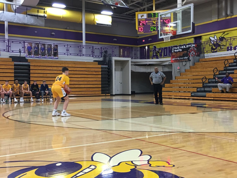 Ethan Emerzian shooting a technical foul free throw.