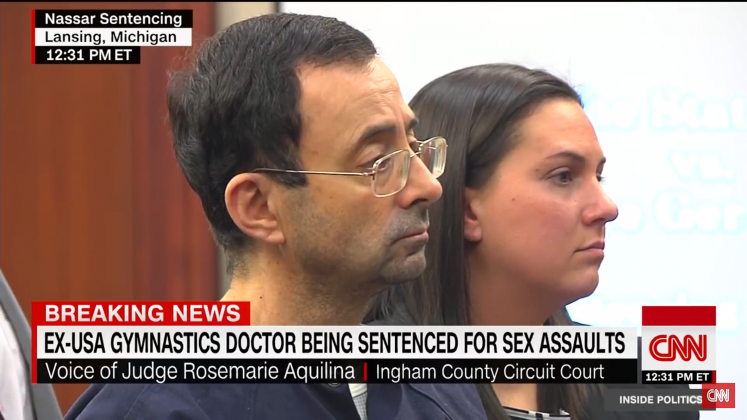 Ex-Olympic doctor Larry Nassar receiving his sentence in court.