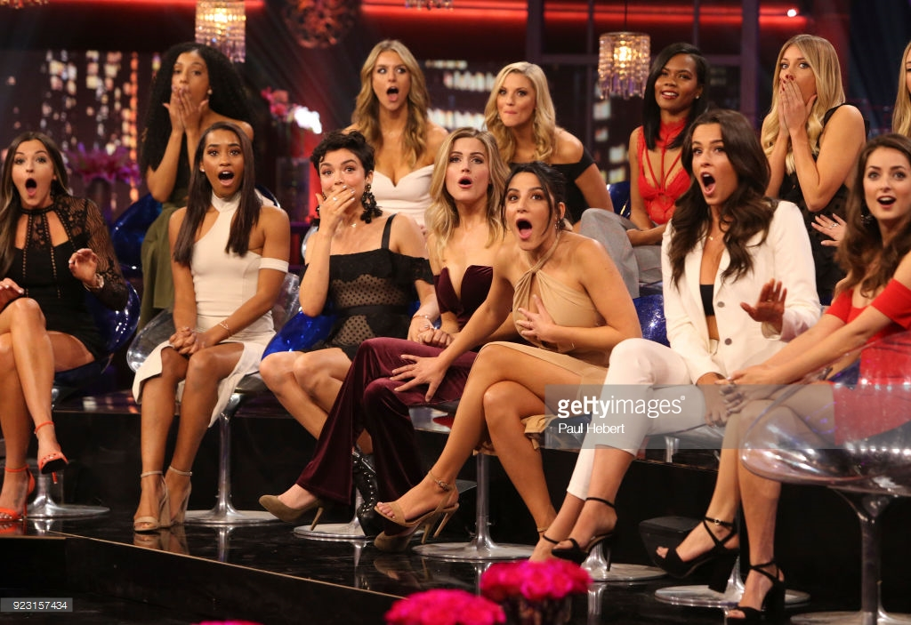 The women of The Bachelor in shock after contestant Caroline Lunny claims she knows what Arie did.