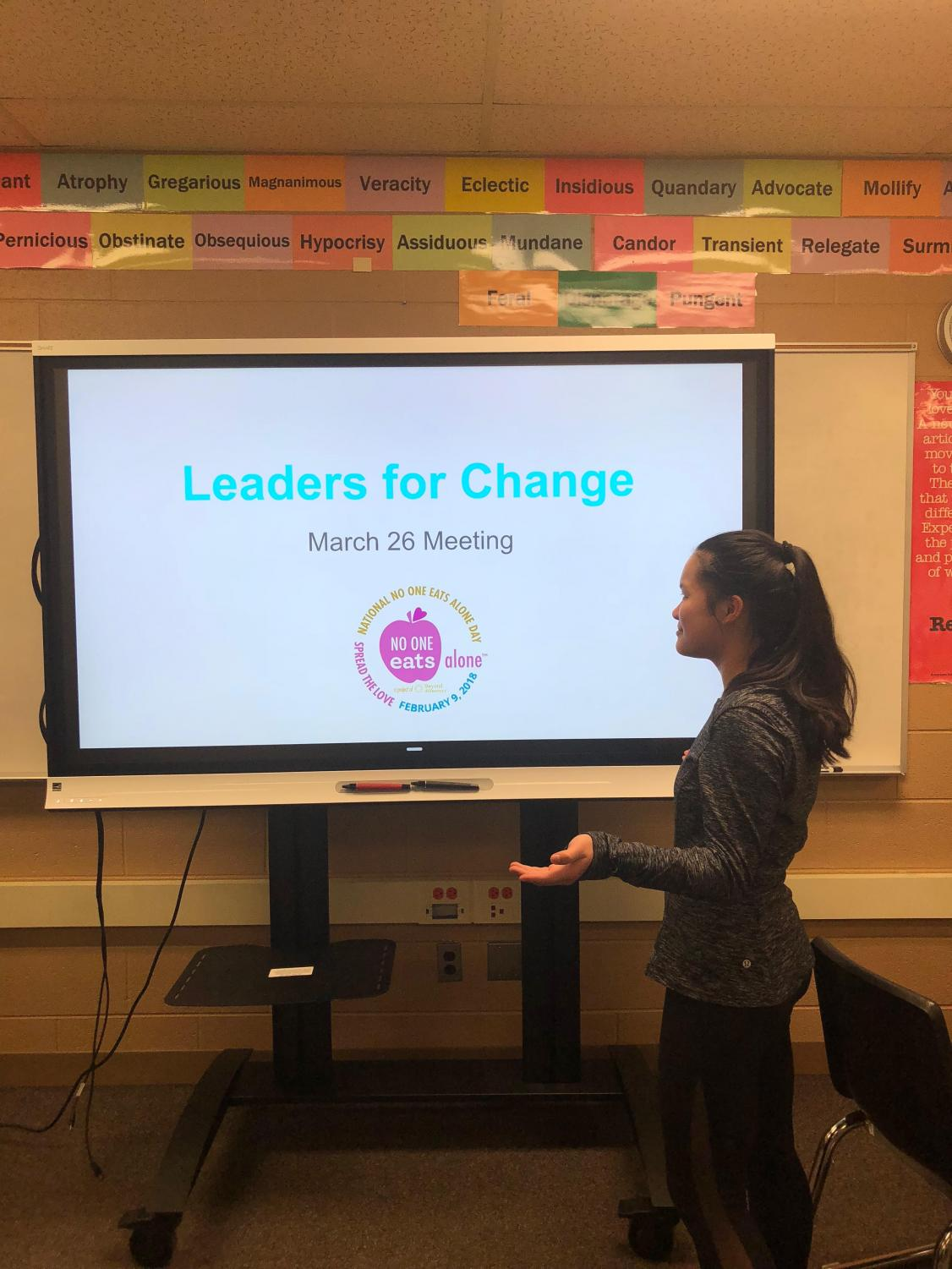 Madison Butchko presenting during a Leaders for Change meeting.