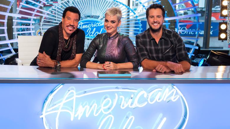 Judges Lionel Richie (right), Katy Perry (middle), and Luke Bryan (right).