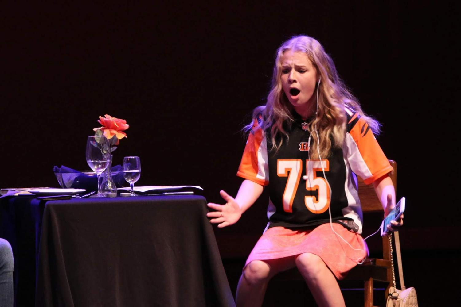 Claire Donohoe lights up the stage with her acting skills during an Adams production.