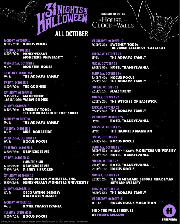 The+schedule+for+the+upcoming+31+Days+of+Halloween+starting+October+1.