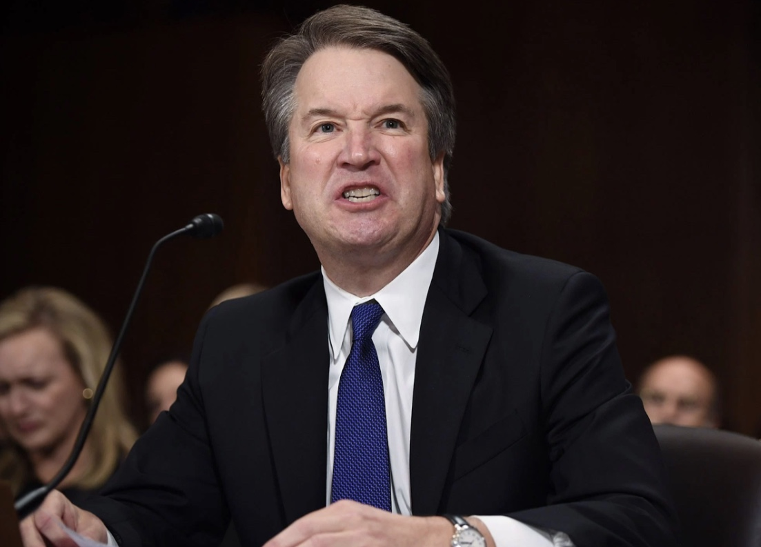 Picture shows Kavanaugh yelling as a response to a question.