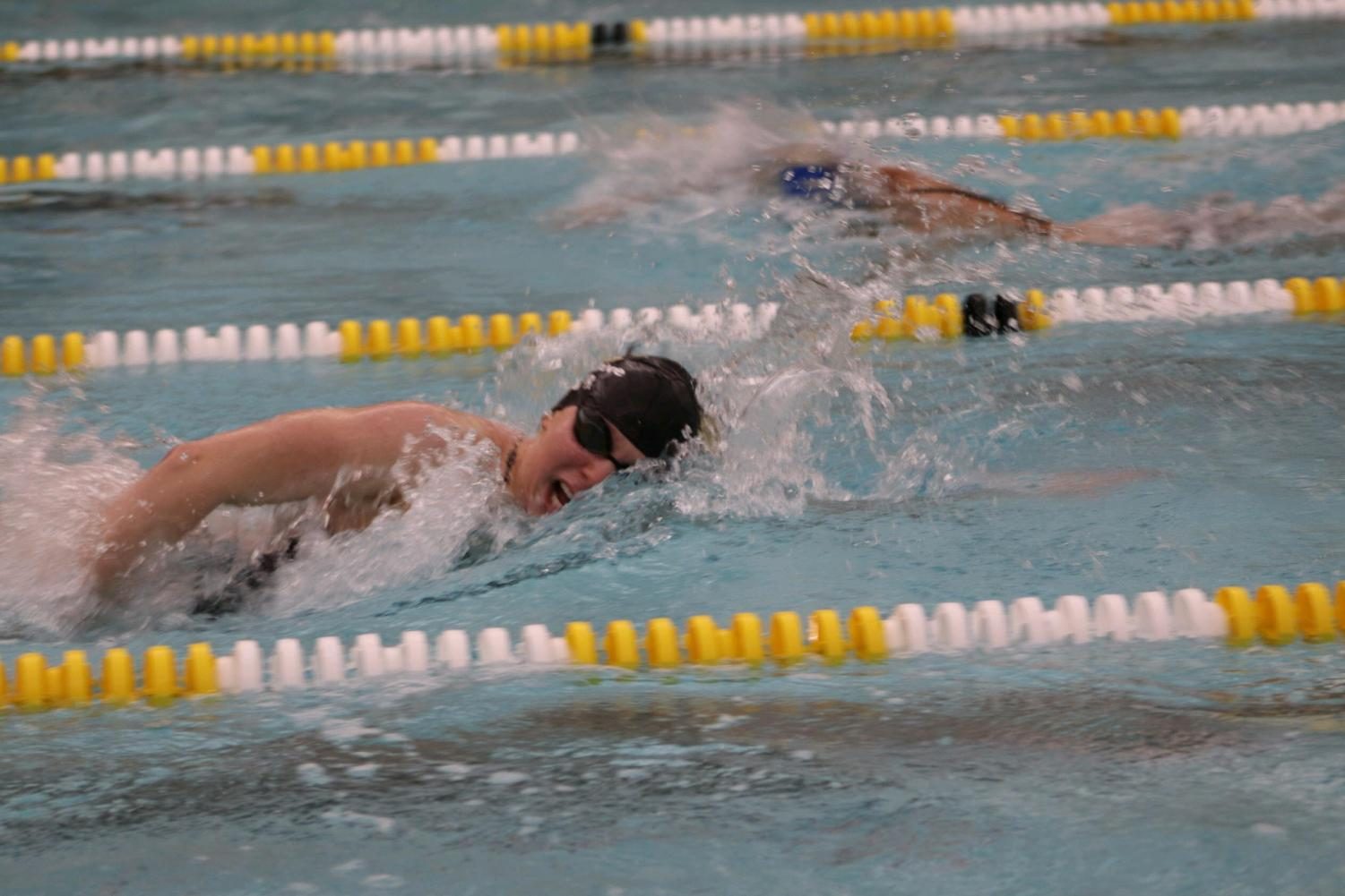 Lohner swimming for the Rochester Adams Swim and Dive team in 2018.