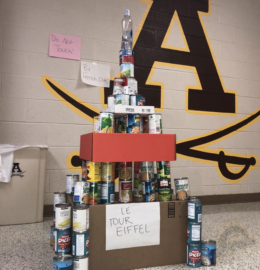 French students doing their part and showing off their skills ready to bring in the cans.