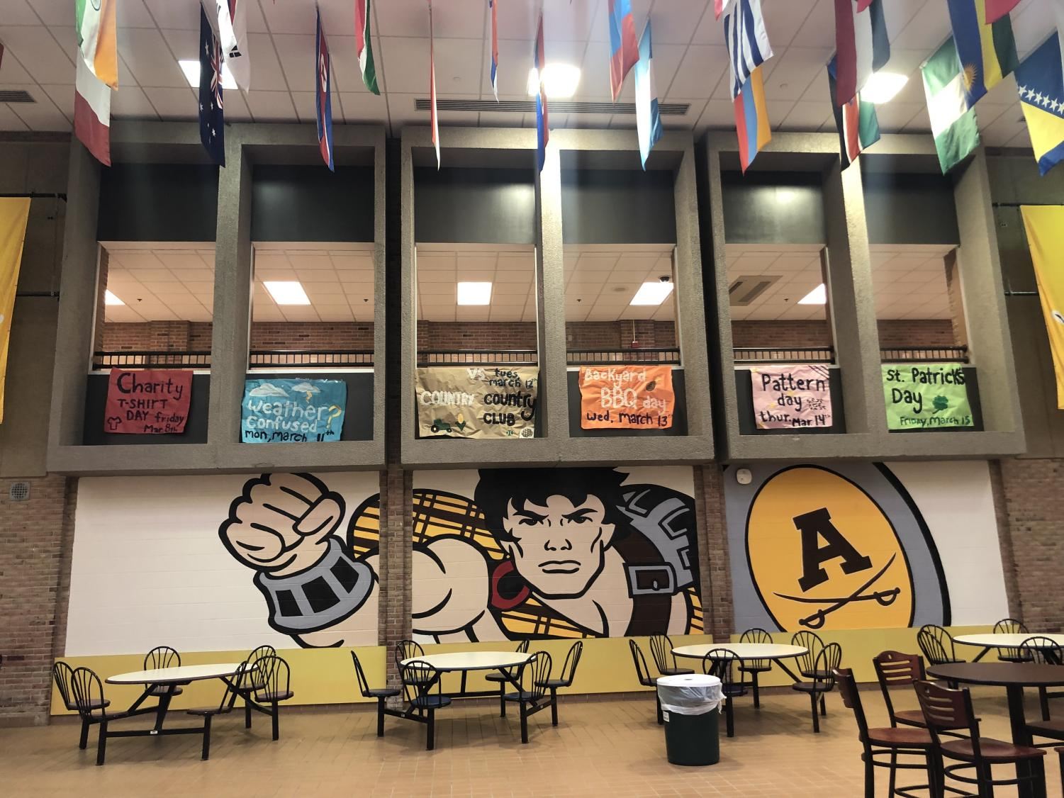 Signs were hung in the cafeteria to promote the clothing spirit days.