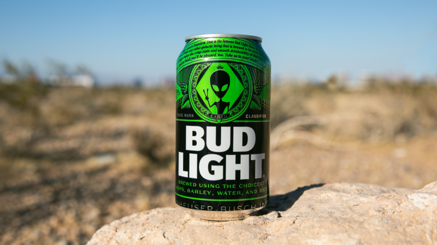 At+the+festival%2C+Bud+Light+offered+a+special+edition+beer+based+on+the+alien+theme.+%0A%0A