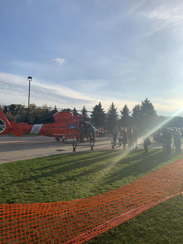 The U.S. Coast Guard helicopter