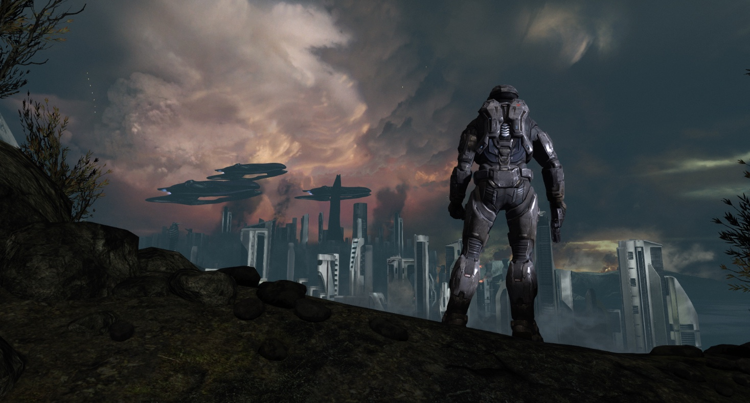 Halo Master Chief Collection Noble 6 overlooking the city of New Alexandria as it gets bombarded by the Covenant.