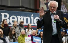 Vermont senator Bernie Sanders speaking at his   New Hampshire primary win in 2016.