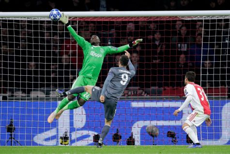 Photo of Onana making an incredible save in Ajax's Champions League semi-final run in 2019. Credits: Mathew Nash