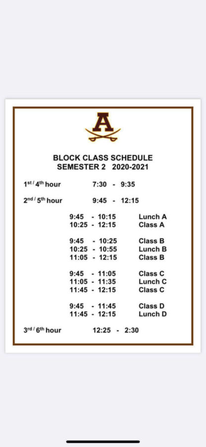 A picture of the new class schedule is shown above