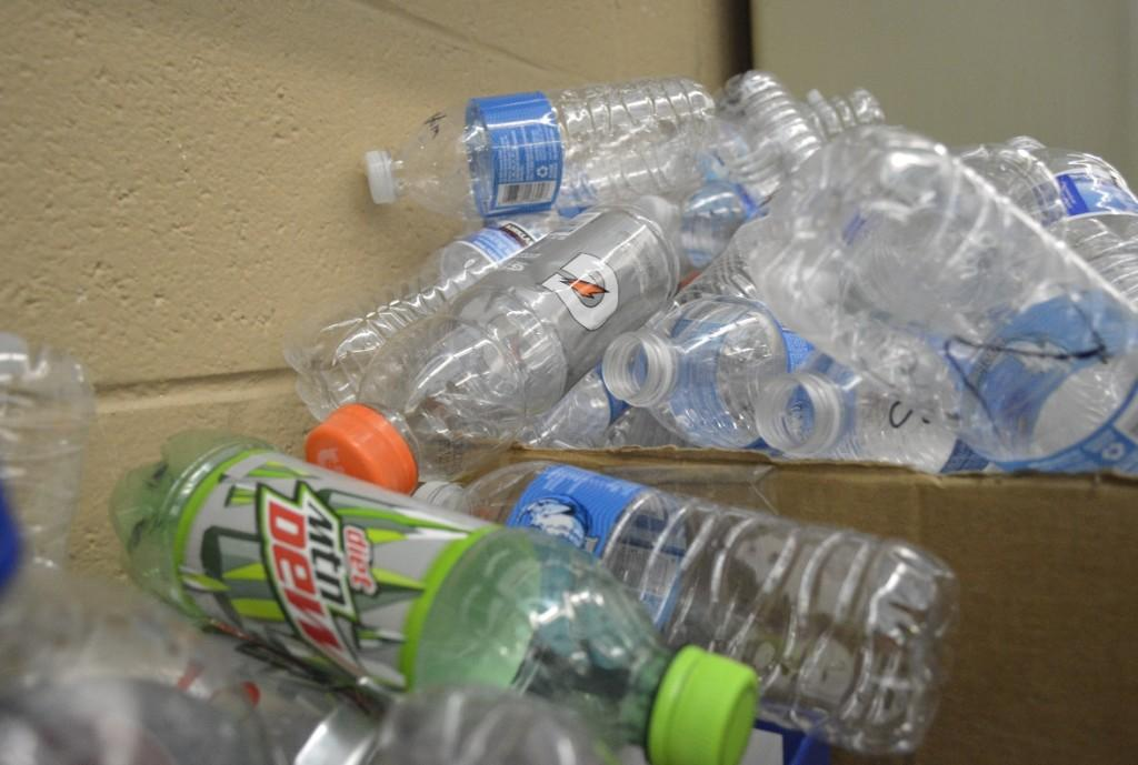 A+collection+of+plastic+bottles+piled+up+for+recycling.+