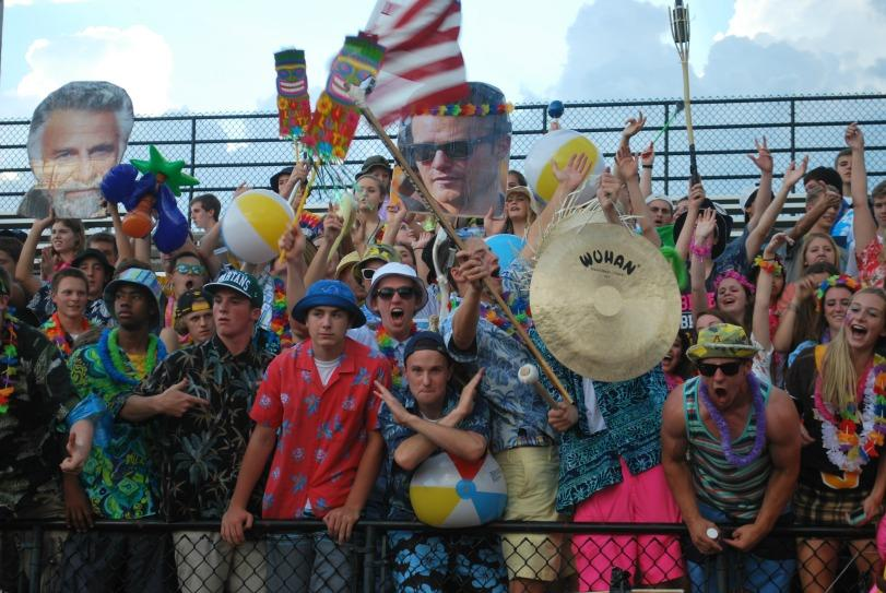 The student section got tropical for their second game of the season. Giant head cutouts, inflatables, and a gong all made an appearance.