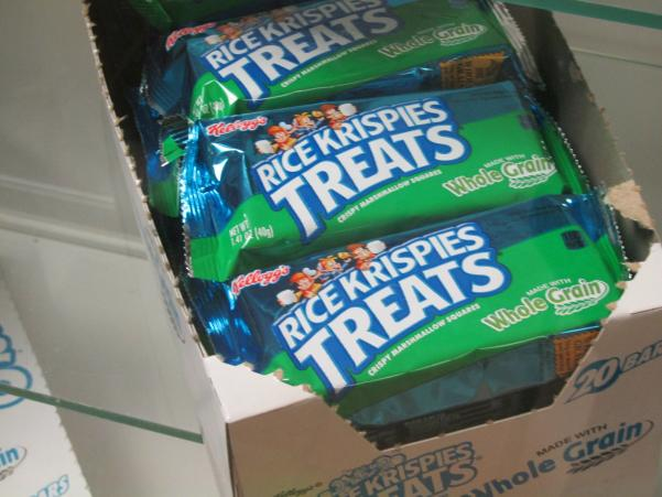 The new whole grain rice krispies in the vending machine.