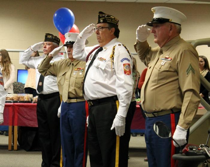 Veterans visit Adams during a Military Appreciation luncheon.