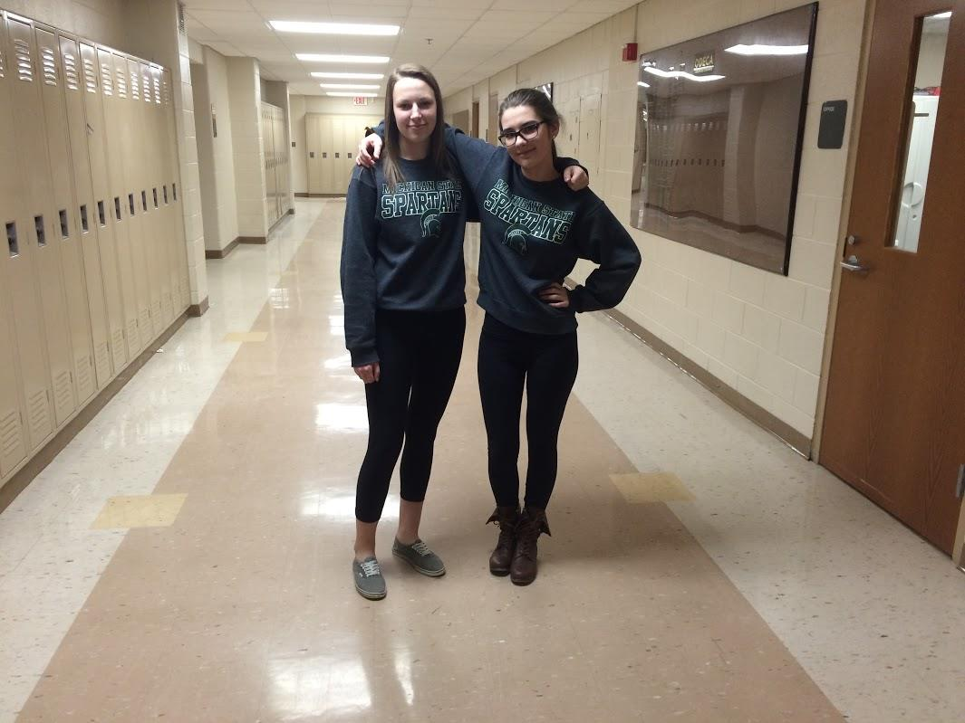 Seniors Jill Trudell and Kelley Darah represent Michigan State University