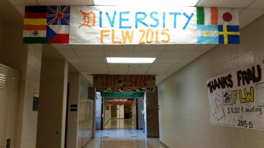Foreign+Language+Week+banners+hang+in+the+language+hallway.+All+banners+were+designed+by+Adams+students.
