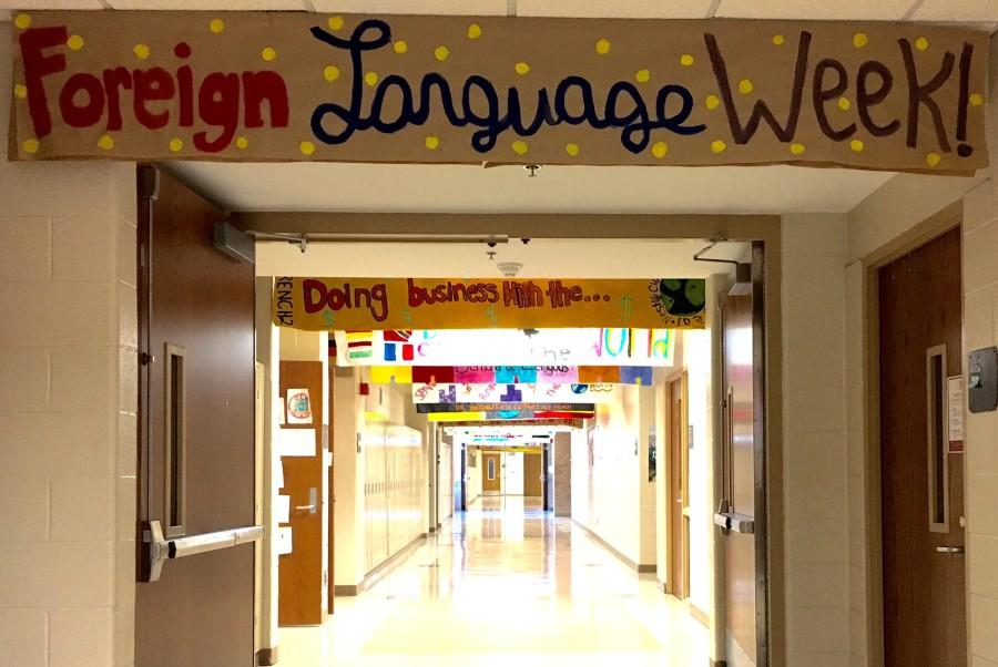 Banners+are+hung+through+the+foreign+language+hallway