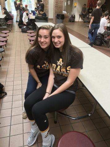 Freshmen Leighton Miotke and Abby Wozniak have fun with their first ever spirit week.