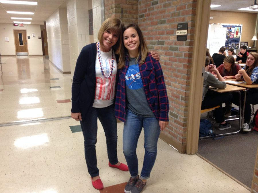 Language+Arts+teachers+Mrs.+Colleen+Winkler+and+Mrs.+Jean+Bollinger+participate+in+the+spirit+week+fun+on+USA+day.