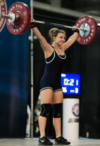 Kate Vibert's first weightlifting event; taking third in youth nationals.