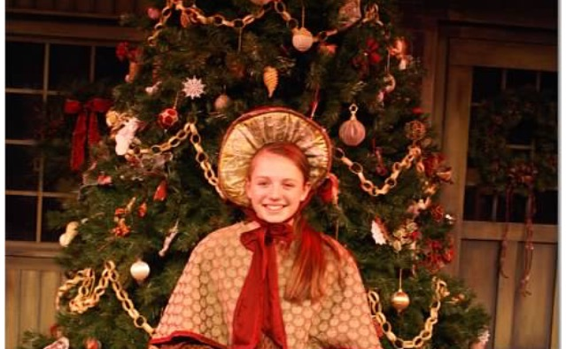 Megan Mackenzie, an actress in A Christmas Carol, shows off her star talent during the play.