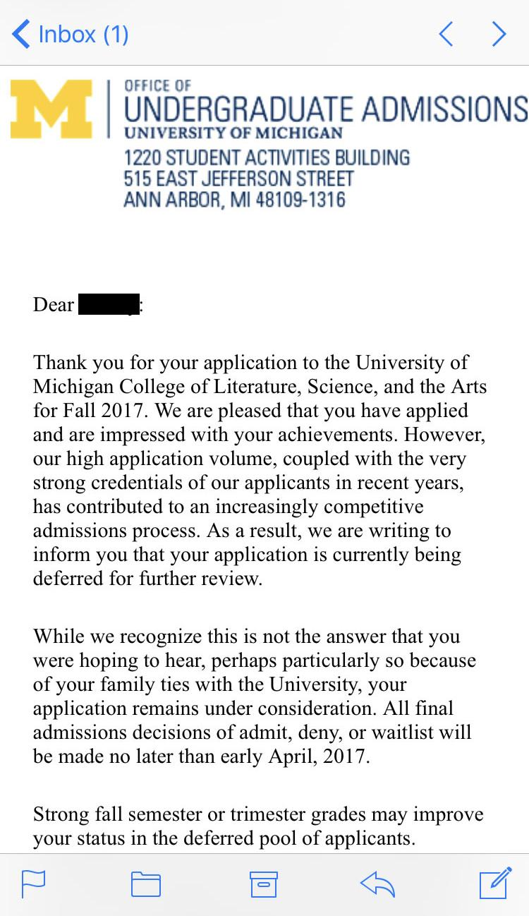 College Deferral Letter | Demozaiektuin