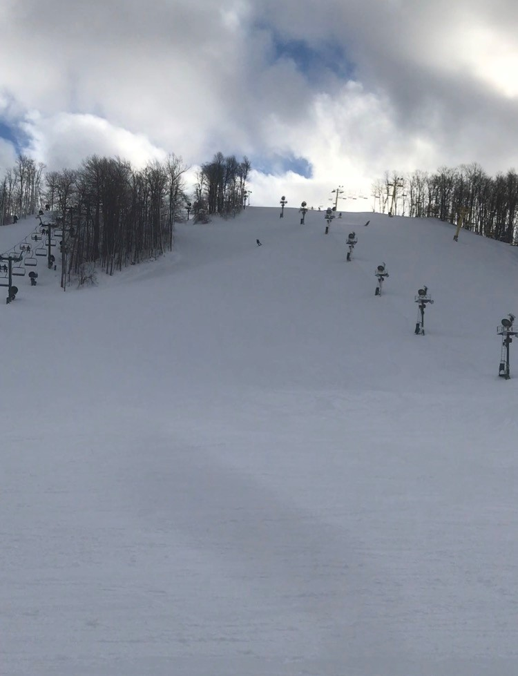 An action shot of a skier taking on a black diamond slope at Boyne Highlands Ski Resort in December.