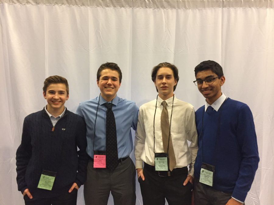 Sophomores (from left to right) Brady Vibert, Joey DiCresce, Cameron Limke, and Anukul Banerji attended this year's Youth-in-Government field trip.