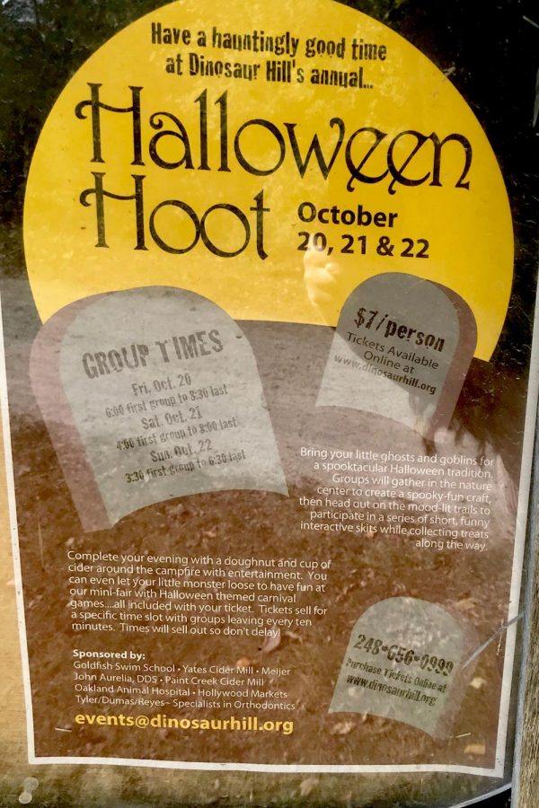 Halloween Hoot flyer advertised on the Paint Creek Trail.