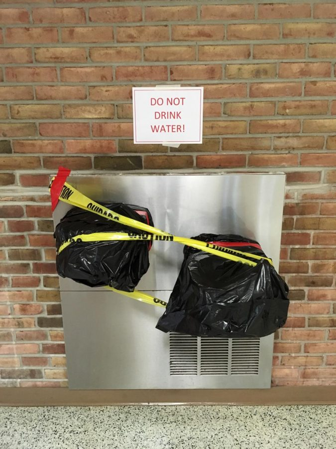 Closed off water fountains.