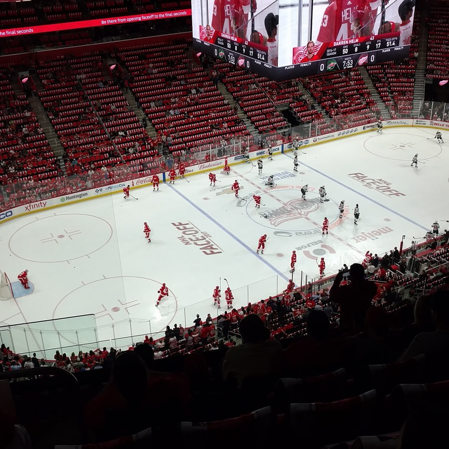The Red wings warming up just before the home opener at the LCA.