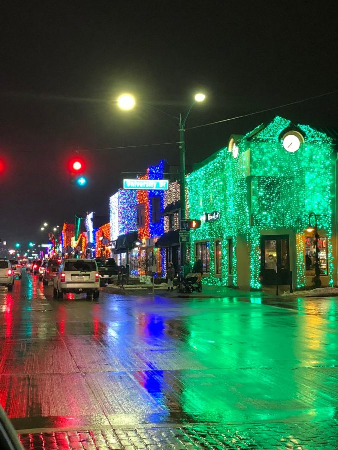 The lights in Downtown Rochester illuminate the town.