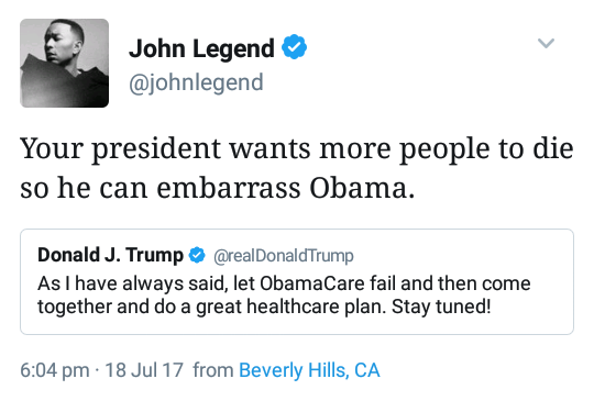 Tweet by John legend. Would tweets like this have the ability to change political opinions?